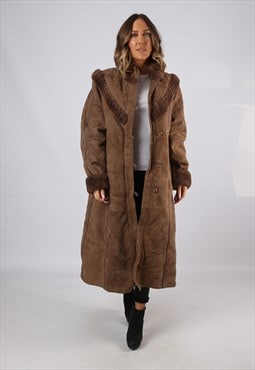Sheepskin Suede Leather Shearling Coat UK  12 - 14 (LJBO)