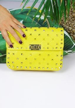 Yellow Gold Studded Box Chain Strap Bag