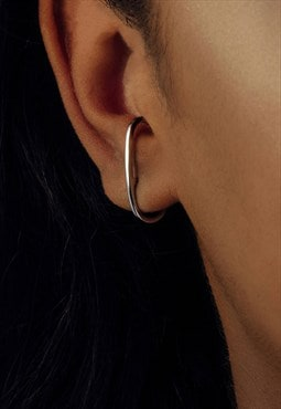 Sterling silver cuff ear studs in silver