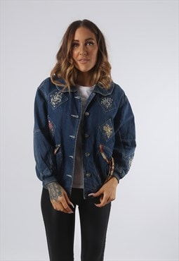 Vintage Denim Bomber Jacket Floral Embroidered UK 8 XS (K93O