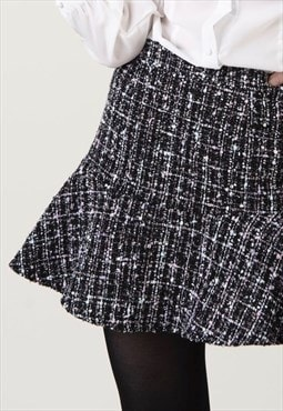 """Maddison"" - Woman Mini Tweed Elegant Grey Skirt"
