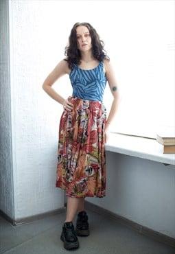 Vintage 80's Multicolour Patterned Midi Viscose Skirt