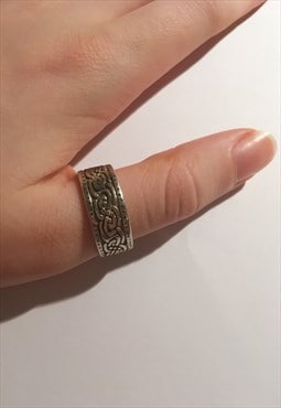 Womens retro Vintage ring aztec boho band 925 silver ring