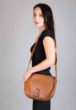 Vintage Leather Shoulder Satchel Crossbody Bag Brown