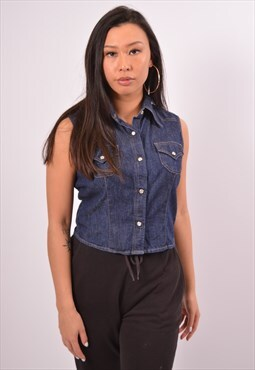 Vintage Benetton Denim Shirt Sleeveless Blue