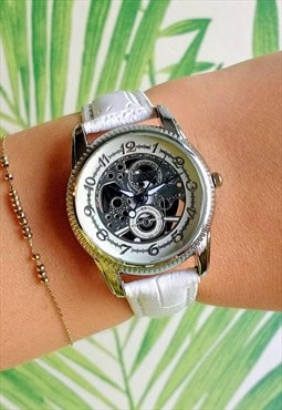 Traditional Ice White Skeleton Style Watch