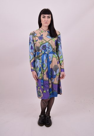 VINTAGE 70'S BLUE PURPLE FLOWER PRINT SHIFT DRESS SIZE 10 12