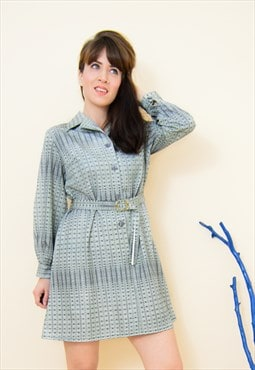 Vintage 70s silver abstract mini secretary dress