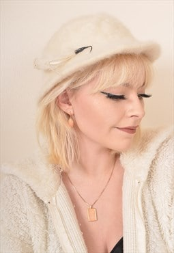 Vintage Fluffy Wool Fedora Hat in Cream
