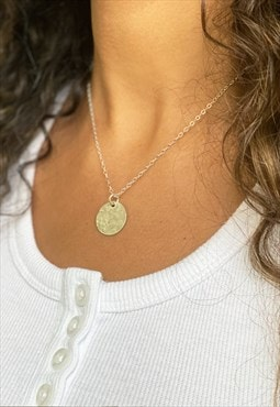 Dainty Chain Necklace in Sterling Silver with Coin Pendant