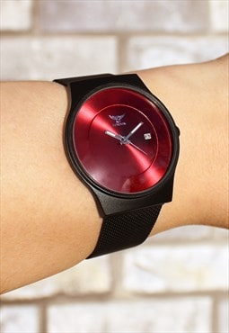 Slim Dark Red Watch with Date
