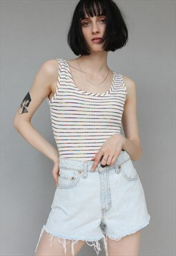 Vintage 90's Striped Bodysuit Tank Top White