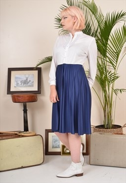 Vintage 80s Two-Tone Summer Midi Dress Blue / White