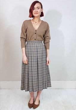 Vintage 80's Brown and Navy Blue Checked Pleated Midi Skirt