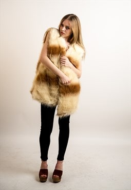 Brown and cream color block Fluffy Faux Fur Gilet jacket