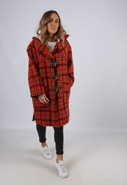 Vintage Tartan Checked Coat Oversized Wool Long UK 14 (XEF)