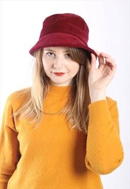 Vintage 90s Velvet Bucket Hat in Red Velveteen
