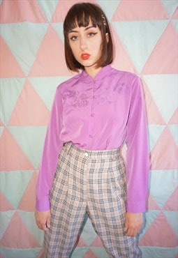 Vintage 90s Purple Floral Embroidered Long Sleeve Shirt