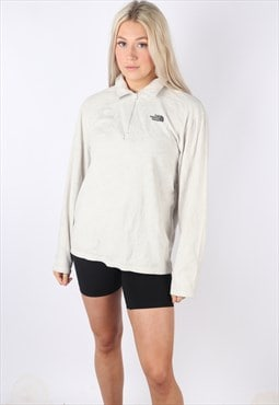 vintage THE NORTH FACE fleece jumper 1/4 zip cream women's