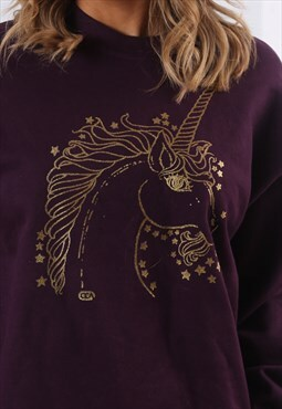 Sweatshirt Jumper Oversized UNICORN Logo UK 12 (EQ4R)
