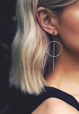 Minimal Geometric Silver Drop Earrings - IONA