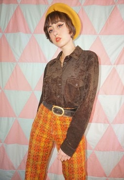 Vintage 90s Brown Stretch Velvet Shirt