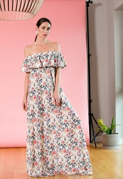 Maxi Floral dress, White Summer dress, off shoulder dress