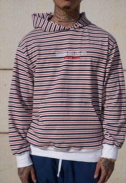 Handmade Sweatshirt Hoodie in Navy, Red and White Stripes