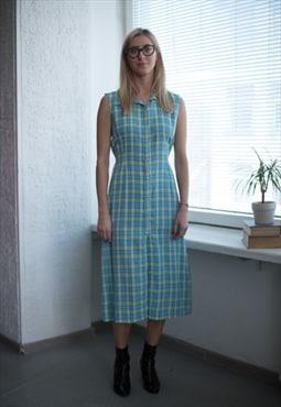 Vintage 80's Blue Plaid Buttons Up Sleeveless Dress
