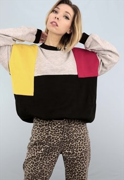 Vintage 90s Oversized Sweater Sweatshirt Colour Block