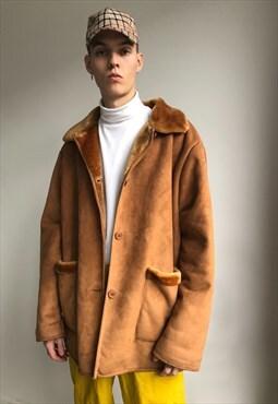 Vintage unisex oversize camel shearling coat