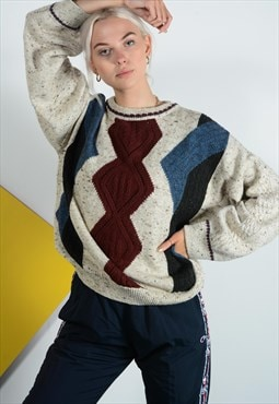 Vintage knitted jumper with  retro pattern