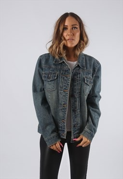 Vintage Denim Jacket Oversized Fitted Dirt Wash UK 14 (KHDJ)