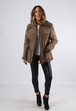 Sheepskin Suede Leather Shearling Short Coat UK 12 (G9BF)