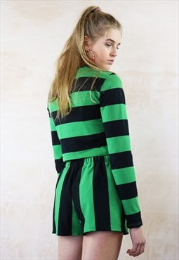 Emerald n Black Shorts and Jumper Co-Ord