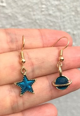 Blue star and universe earring