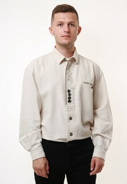GRUBIG 90s Vintage Linen Cotton Shirt 17413