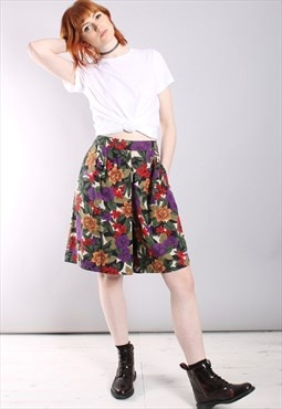 Vintage 80s Floral Patterned High Waisted Culotte Shorts