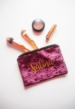 Personalised Makeup Bag in Mauve Velvet