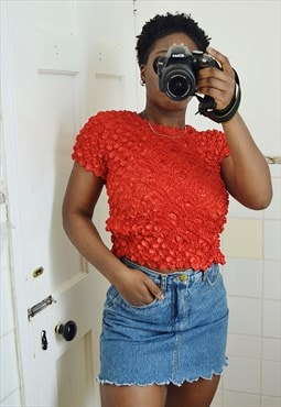 Vintage crinkle top in red