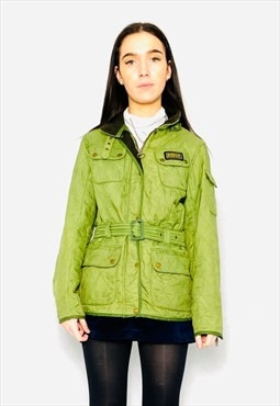 Vintage 90s quilted international green jacket