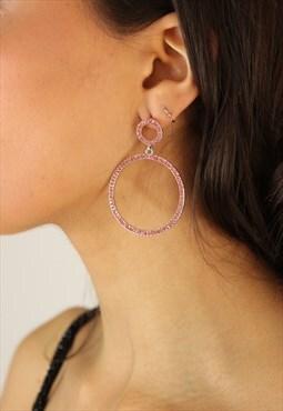 Sparkle Hoop Earrings in Pink