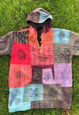 Vintage 90's Patchwork Fleece Lined Hoodie