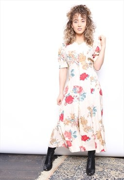 Vintage 90s Floral Print Midi Button Dress