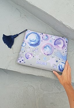 Celestial Moon and Stars personalised large pouch bag