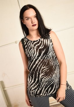 Vintage Y2K sheer festival blouse top with animal print