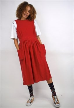 Vintage 90s Red Corduroy Dress