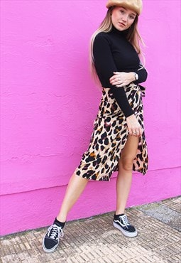 New Laia Leopard Print Satin Wrap Midi Skirt