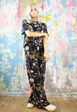 Trousers & Box Top Co-Ordinates in bird & flower print