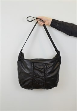 Vintage Slouch CrossBody Bag Black Faux Leather Pleated